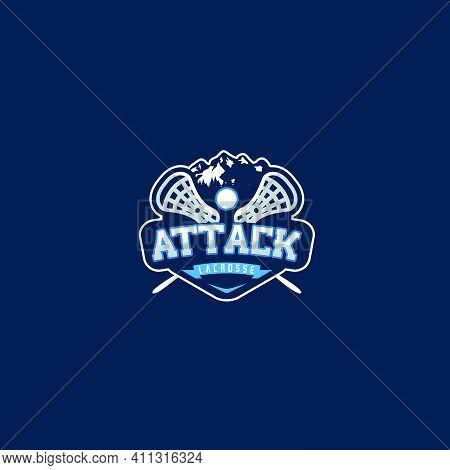 Mountain Lacrosse Attack Logo Design Ball Stick