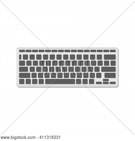 The Computer Keyboard Is Light With Gray Buttons And No Symbols. A Modern Image Of A Computer Keyboa