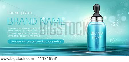 Cosmetics Serum Bottle With Pipette Mock Up Banner. Serum Beauty Product Package On Water Surface Ba