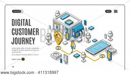 Digital Customer Journey Isometric Web Banner. Process Of Purchasing Decision Map, Buyer Make Purcha