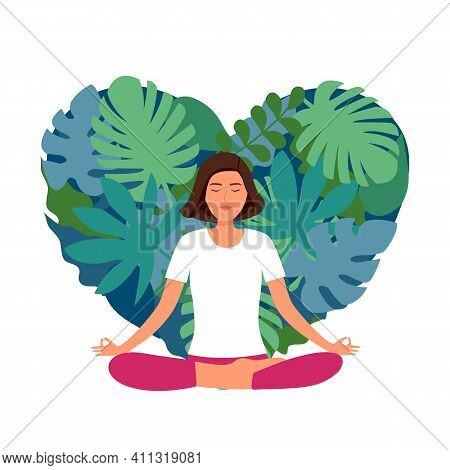 Woman Meditation With Natural Leaves On Background In Flat Design. Peaceful And Calm Relaxation. Fem