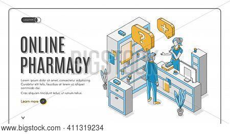 Online Pharmacy Isometric Web Banner. Customer Communicate With Pharmacist At Counter Desk In Drugst