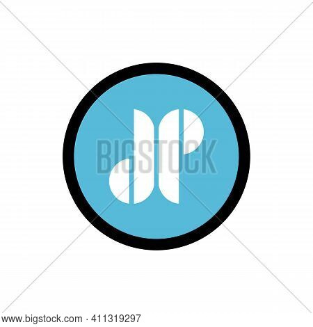 Dp Or Jp Letter Logo, Alphabet Icon Design, Circle Shape Symbol - Vector