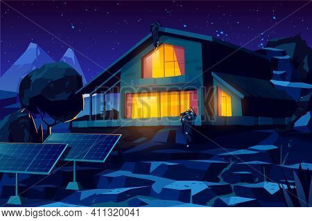 Two Storey Cottage Building, Rural House With Solar Panels In Yard, Country Villa Or Chalet Glowing