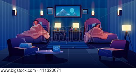 Young Couple Sleeping Apart In Hotel Bedroom At Single Beds, Apartment Interior With Nightstands, Gl