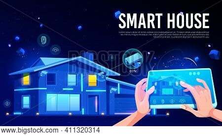 Smart House Security Technology With Cctv Cameras Records Online Viewing, Keyless Access With Finger