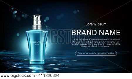 Cosmetics Pump Bottle Mock Up Banner. Beauty Product Package On Water Surface Background. Night Crea
