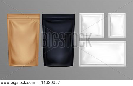 Sachet Set. Pouch Foil Paper Or Plastic Bags Isolated On Grey Background. Various Size And Color Doy