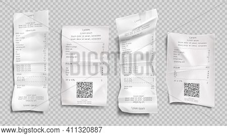 Receipt Invoice, Paper Bills With Qr Codes For Scan Set Isolated On Transparent Background. Supermar