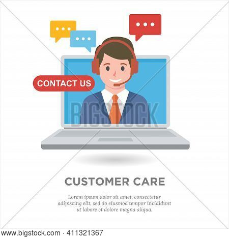 Flat Vector Illustration Of Customer Care Service. Suitable For Design Element From Company Hotline