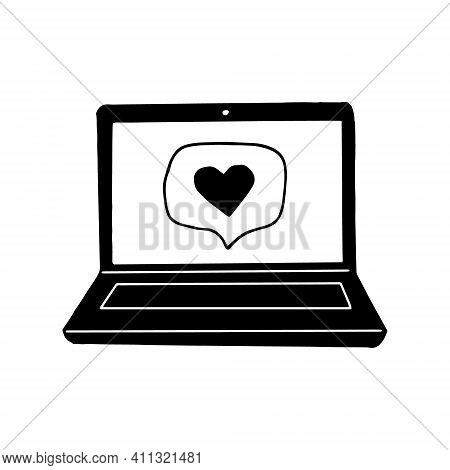 Laptop With Heart On Screen Icon, Sticker. Sketch Hand Drawn Doodle Style. Vector, Minimalism, Monoc