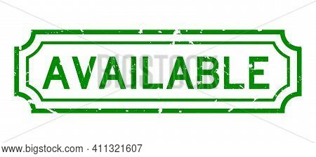 Grunge Green Available Word Rubber Business Seal Stamp On White Background