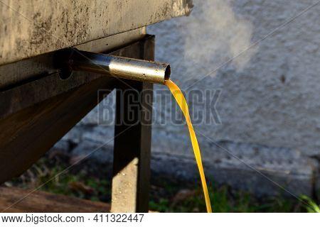 Work Of Beekeeper Melting Old Dark Wax Combs Full Of Diseases In Stainless Steel Steam Boiler. The W