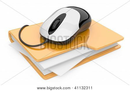 Computer Mouse Connected To Yellow Folder