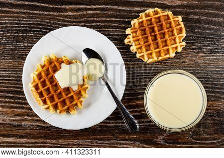 Teaspoon, Biscuit Waffle Poured Condensed Milk In White Plate, Waffle, Transparent Bowl With Condens
