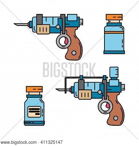 Color Medical Healthcare Art Icon Set Injection Gun, Ampoule Syringe. Professional Equipment Symbol.