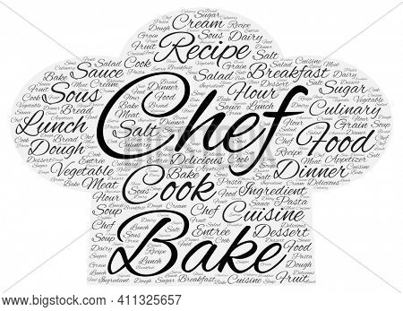 Chef Hat Made of Cooking Related Words