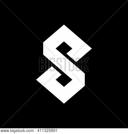 Initial Letter S, Dp Or Pd Logo Template With Infinity Geometric Line Art Illustration In Flat Desig