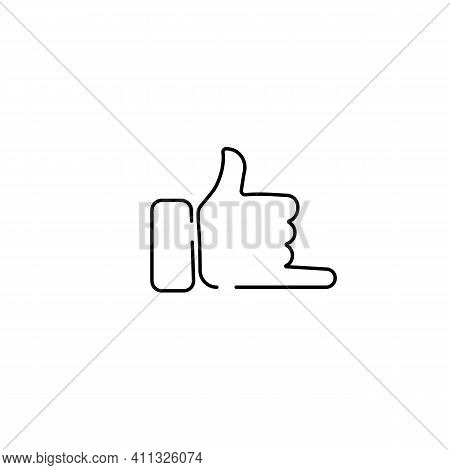 Call And Phone Emoji, Finger Gesture Line Art Vector Icon For Apps And Websites