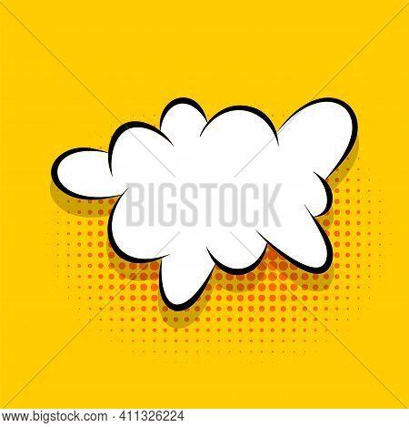 Comics Speech Bubble For Text Pop Art Design. White Empty Dialog Cloud For Text Message Halftone Sha