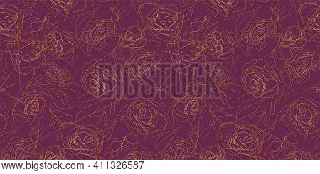 Luxurious Gold And Rose Purple Vector Background. Floral Seamless Pattern, Golden Plant Line Art. Mo