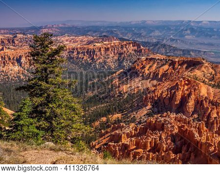 Southwest Usa Bryce Canyon National Park (a Rocky Town Of Red-rose Towers And Needles In A Closed Am