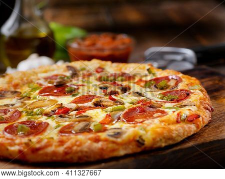 Tasty Pizza. Cheese Pizza. Pepperoni Pizza. Mushroom Pizza. Mozzarella And Tomato. Top View Of Hot P