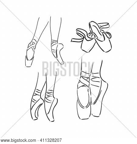Legs And Shoes Of A Young Ballerina. Vector Image