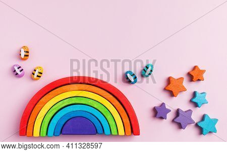 Eco-friendly Colored Wooden Educational Toys Based On The Montessori Method. Wooden Rainbow, Sorted