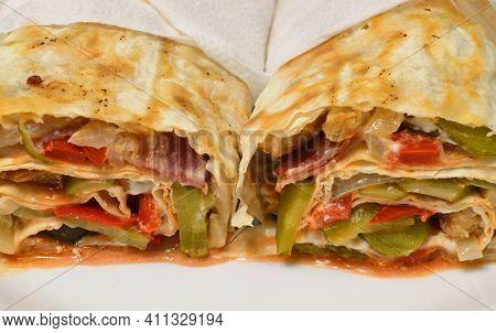 Homemade Shawarma In Thin Wheat Tortilla Close Up.