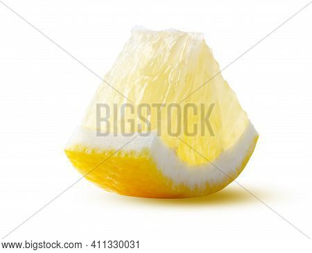 Circle Sector Lemon Slice Glowing From Within Isolated On White Background. Beautiful Fresh And Tast