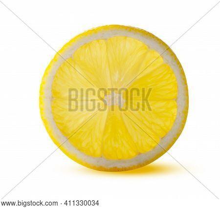 Round Lemon Slice Glowing From Within Isolated On White Background. Beautiful Fresh And Tasty Citrus