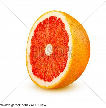 Perfectly Retouched Half Of Juicy Ripe Grapefruit Isolated On White Background. This Image Has Bette