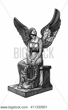 Seated Praying Angel Girl Sculpture With Wings And Wreath. Monochrome Illustration Of The Statue Of