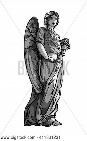 Crying Praying Angel Girl Sculpture With Wings. Monochrome Illustration Of The Statue Of An Angel. I