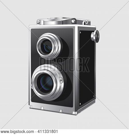 Vector Neat Accurate Illustration Of Vintage Square Photo Camera. Realistic Retro Old Photo Camera O