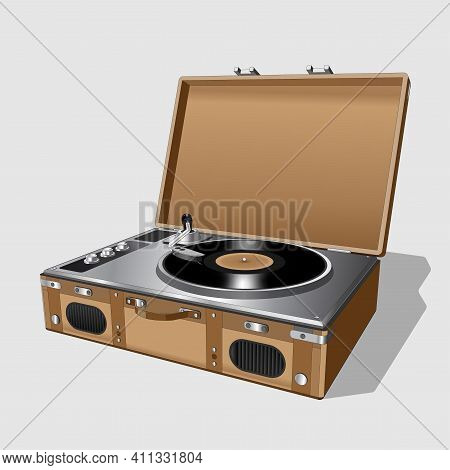 Vector Neat Accurate Illustration Of Vintage Turntable. Record Player Vinyl Record. Realistic Retro