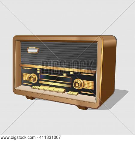 Vector Neat Accurate Illustration Of Vintage Old Radio. Classic Old Radio In A Wooden Case. Realisti