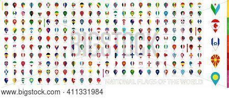 All Official National Flags Of The World Sorted Alphabetically By Continent. Vertical Pin Icon. Big