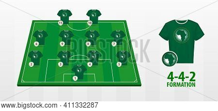 African Union National Football Team Formation On Football Field. Half Green Field With Soccer Jerse