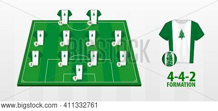 Norfolk Island National Football Team Formation On Football Field. Half Green Field With Soccer Jers