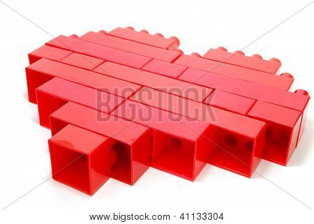 Plastic Blocks Red Heart