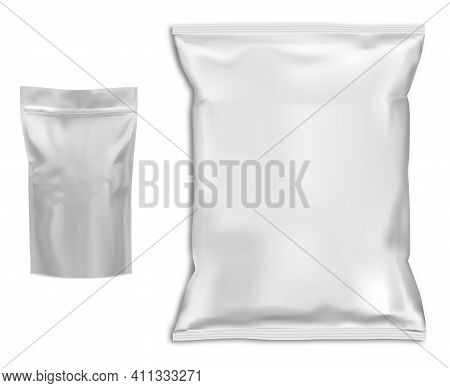 Pouch, Coffee Bag Mockup. Food Snack Pillow Package Blank. Chocolate Foil Packet, Candy Pack, 3d Vec