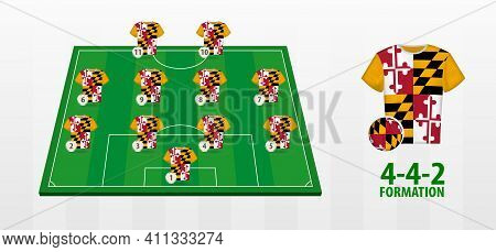 Maryland National Football Team Formation On Football Field. Half Green Field With Soccer Jerseys Of