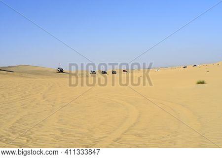 Dubai, United Arab Emirates – March 5, 2021, Early Morning Off-roading And Dune Bashing Around Al Qu