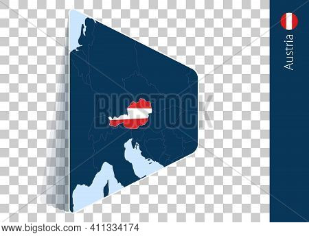 Austria Map And Flag On Transparent Background. Highlighted Austria On Blue Vector Map.