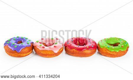 Donuts With Colored Glaze Isolated On White Background.