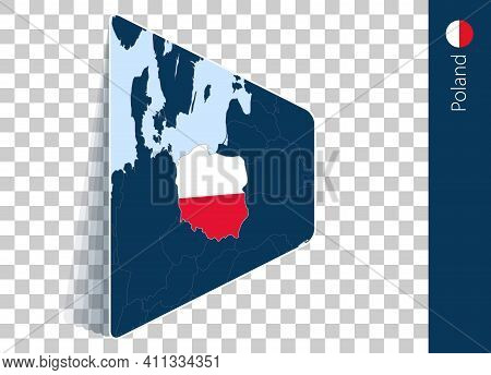 Poland Map And Flag On Transparent Background. Highlighted Poland On Blue Vector Map.