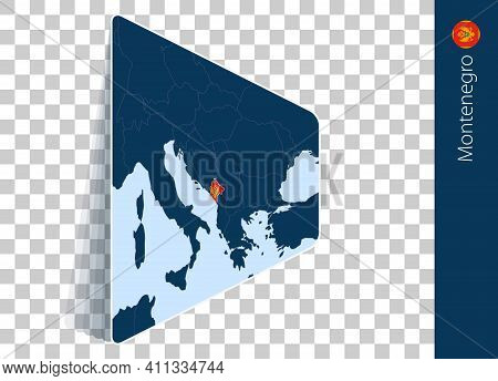 Montenegro Map And Flag On Transparent Background. Highlighted Montenegro On Blue Vector Map.