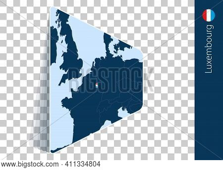 Luxembourg Map And Flag On Transparent Background. Highlighted Luxembourg On Blue Vector Map.